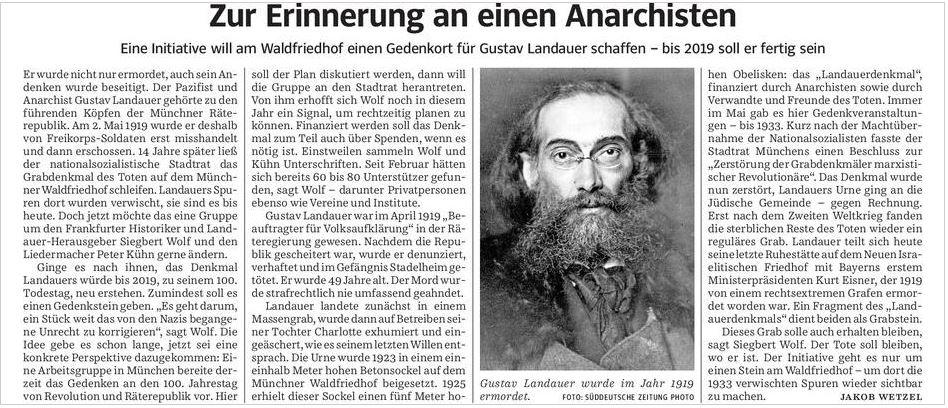Gustav Landuer in der SZ150410 zum Waldfriedhof-Denkmal