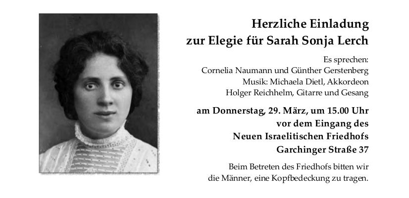 Elegie für Sarah Sonja Lerch