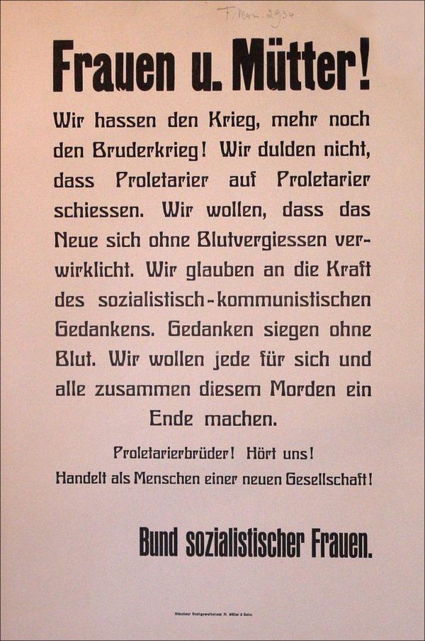 Plakat des Bundes sozialistischer Frauen Februar 1919