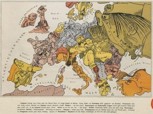 Europa 1914 als Militaristen-Karikatur