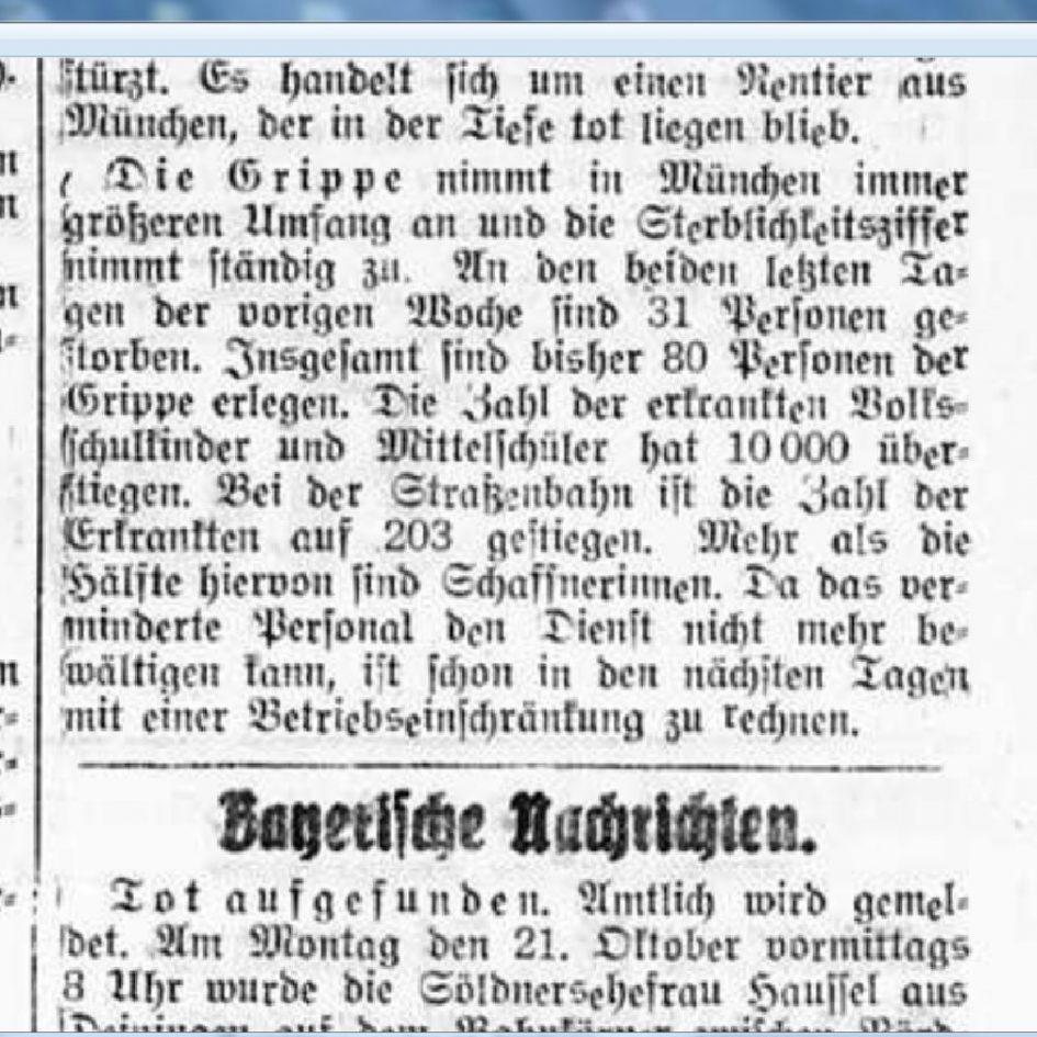 Grippe 1918 München Bayrische Nachrichten